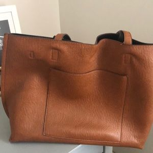 NORDSTROM FAUX LEATHER BROWN TOTE
